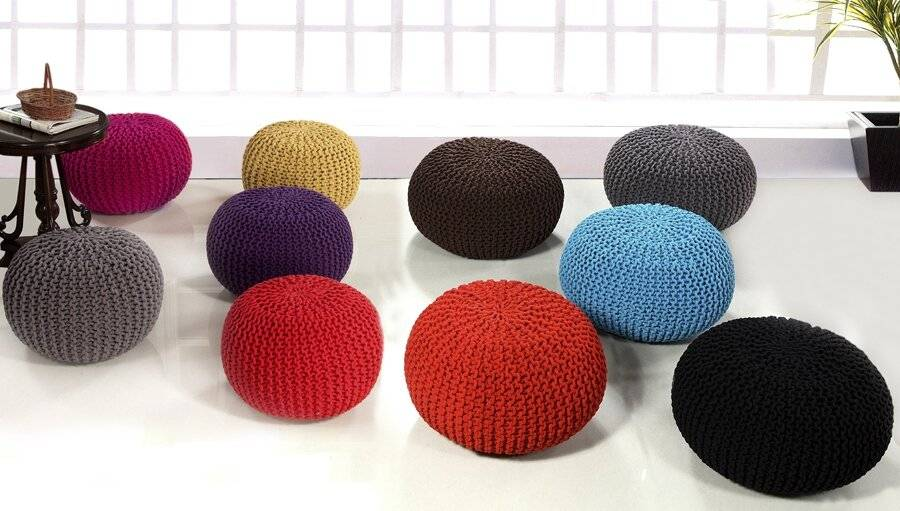 Hand Knitted Chunky Double Braided Cotton Pouffe - Tango