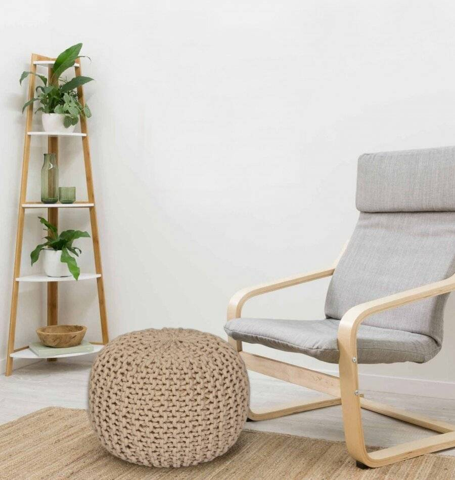 Hand Knitted Double Braided Cotton Pouffe, 40 x 40 x 30cm - Cappuccino