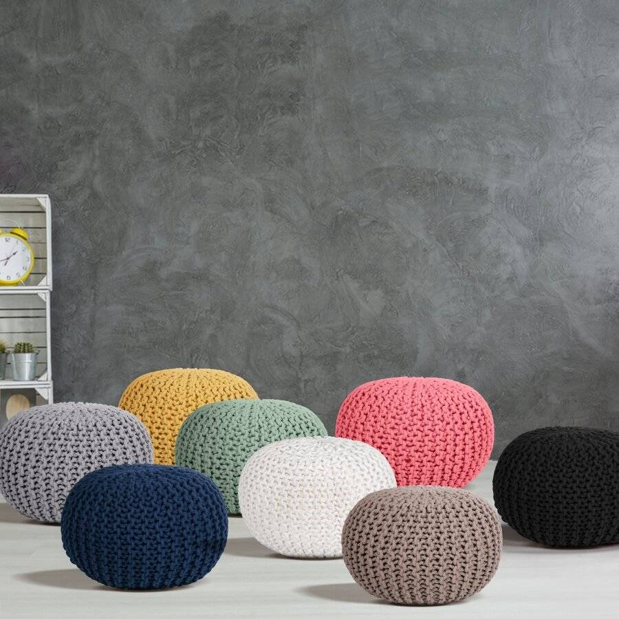 Hand Knitted Double Braided Cotton Pouffe, 40 x 40 x 30cm - Latte
