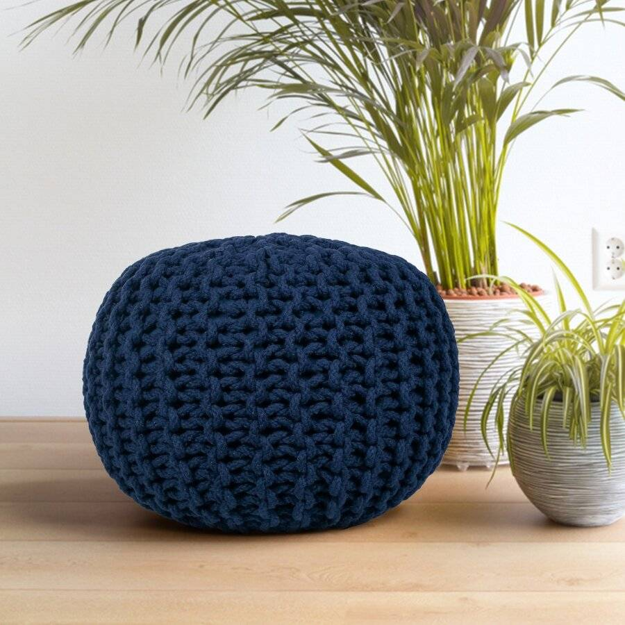 Hand Knitted Double Braided Cotton Pouffe, 40 x 40 x 30cm - Navy Blue