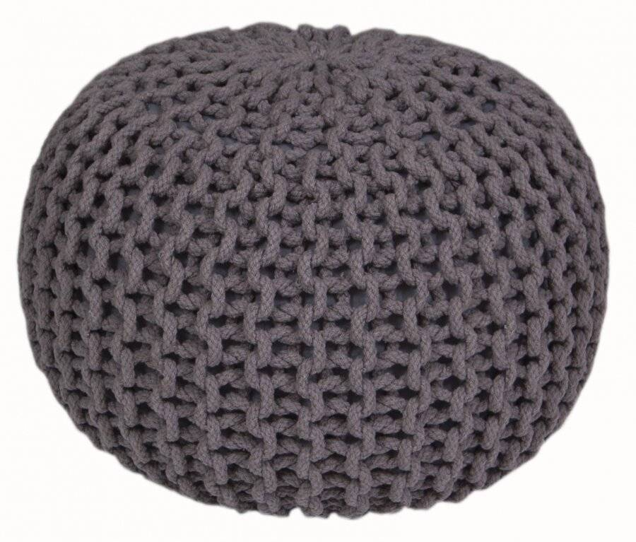 Hand Knitted Double Braided Cotton Pouffe, 40 x 40 x 30 cm - Smoke
