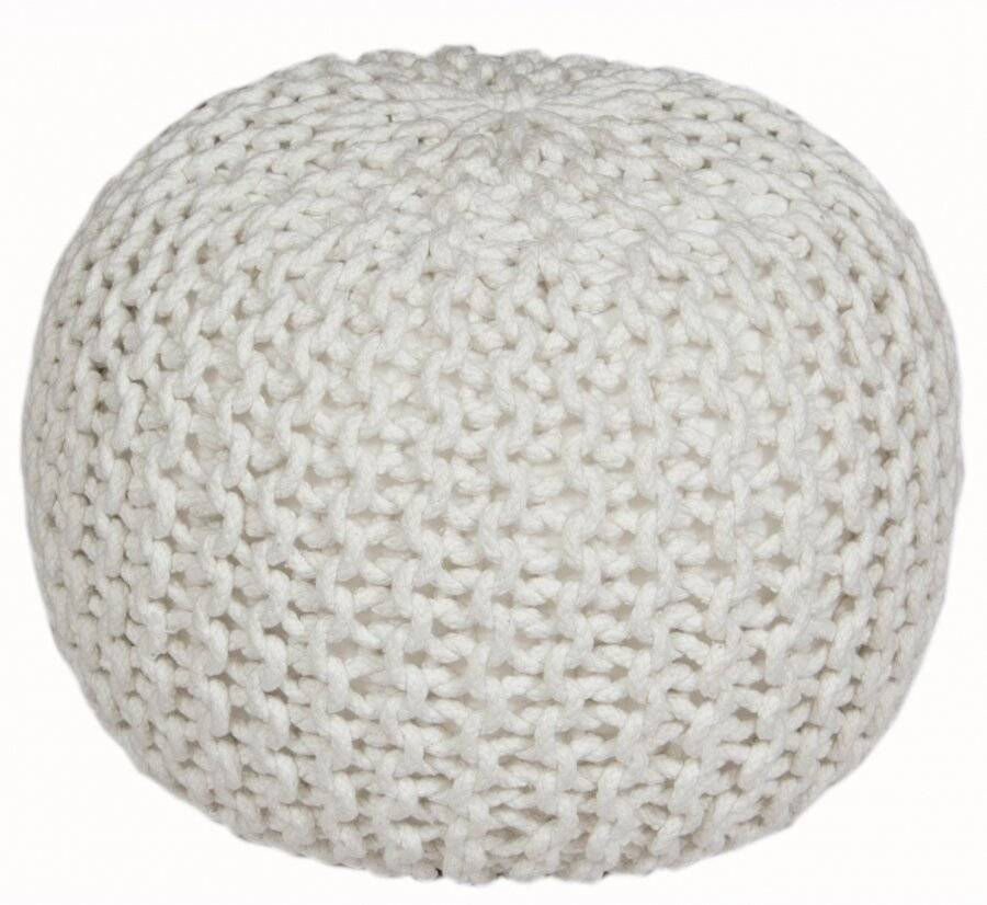 Hand Knitted Double Braided Cotton Pouffe, 40 x 40 x 30 cm - Cream