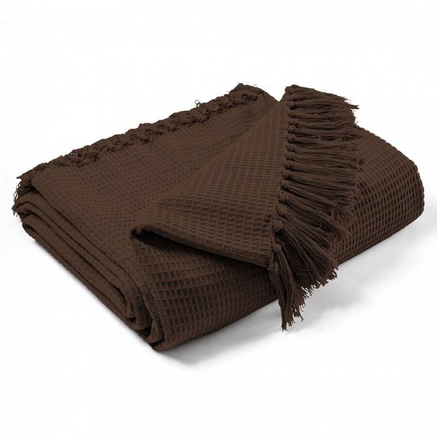 Hand Woven Waffle Design Cotton Extra Large Sofa Throw- Chocolate