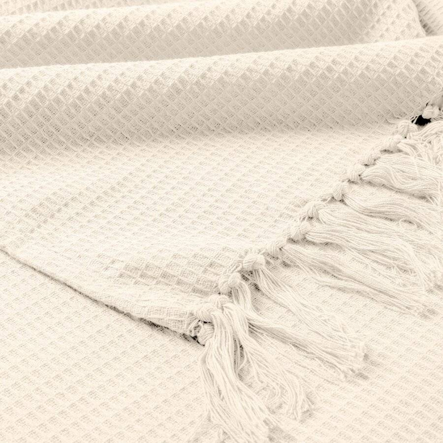 Handwoven Waffle Design Cotton Extra Large Sofa Throw - Cream