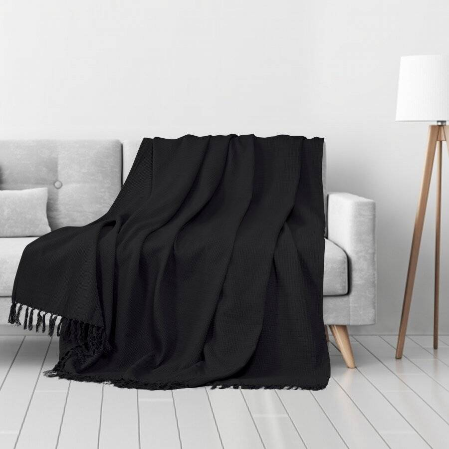 Waffle Design Handwoven Cotton King Size Bed or Sofa Throw - Black