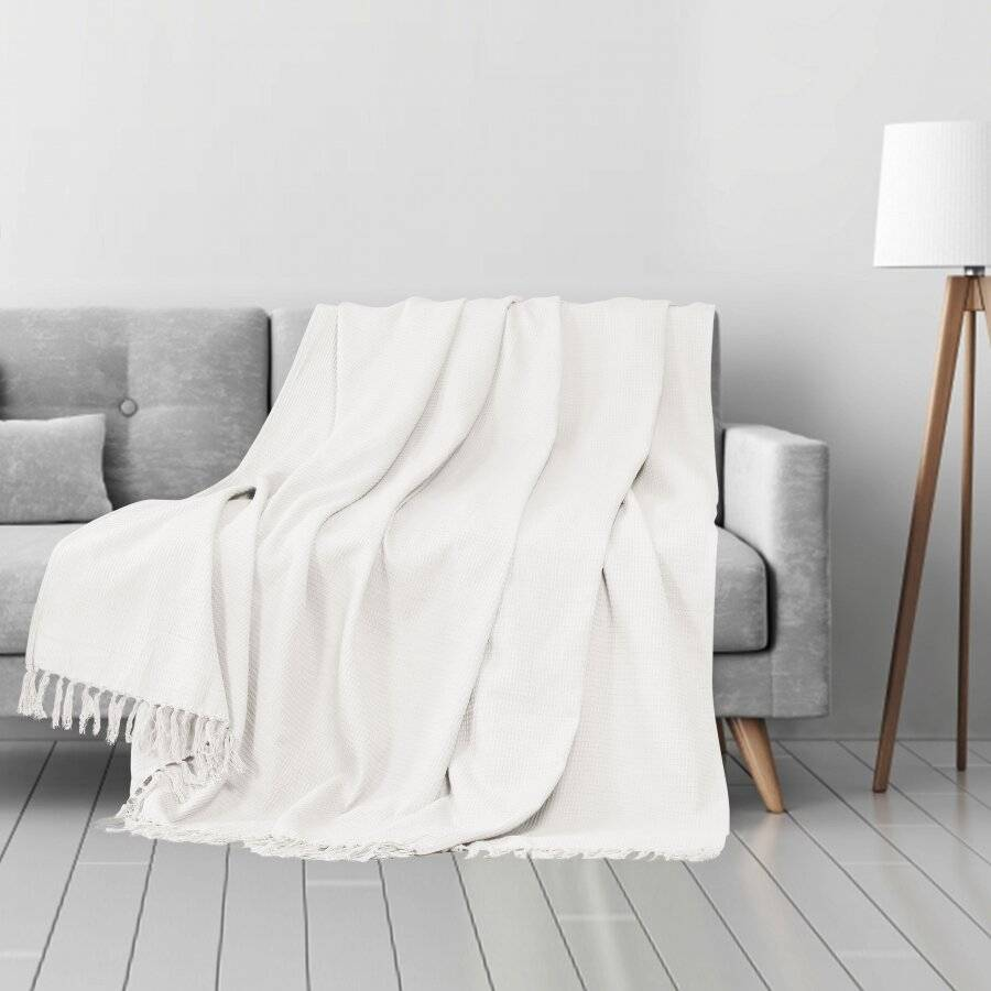Waffle Design Handwoven Cotton King Size Bed or Sofa Throw - Ivory