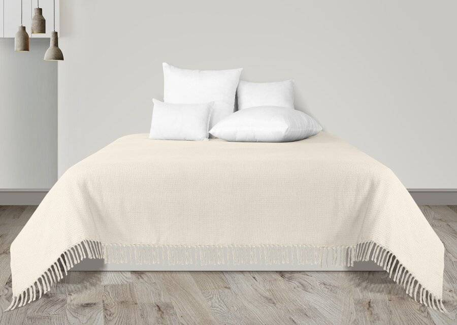 Waffle Design Handwoven Cotton King Size Bed or Sofa Throw - Cream