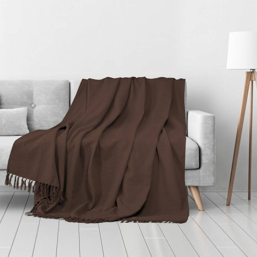Waffle Design Handwoven Cotton King Size Bed or Sofa Throw - Chocolate
