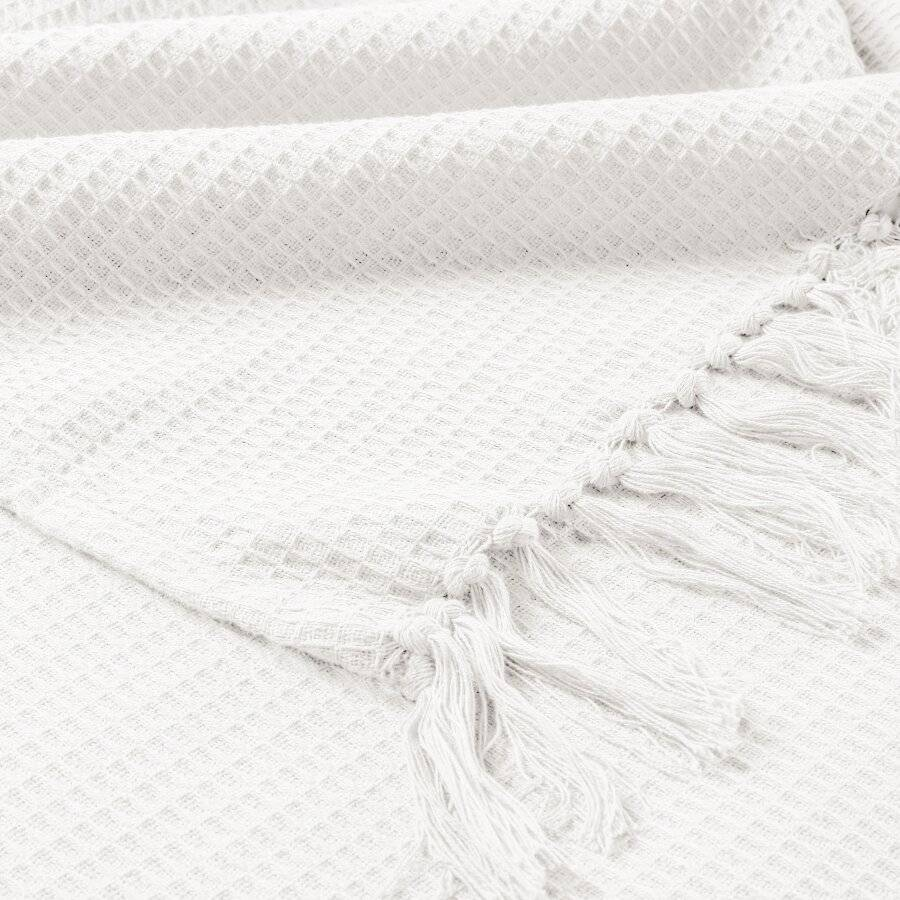 Hand Woven Waffle Design Pure Cotton Extra Large Sofa Throw- Ivory