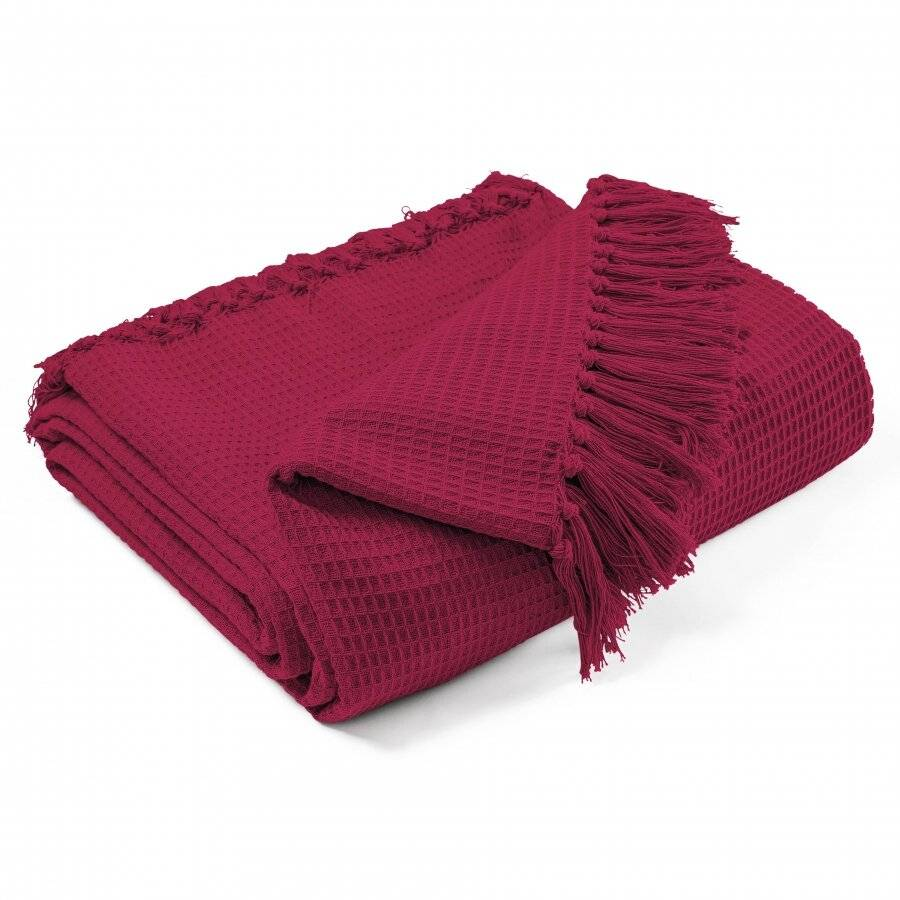 Hand Woven Waffle Design Pure Cotton Extra Large Sofa Throw- Wine