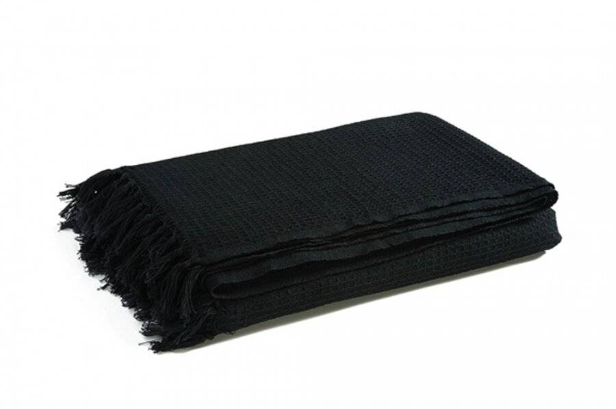 Hand Woven Waffle Design Pure Cotton Large Sofa Throw- Black