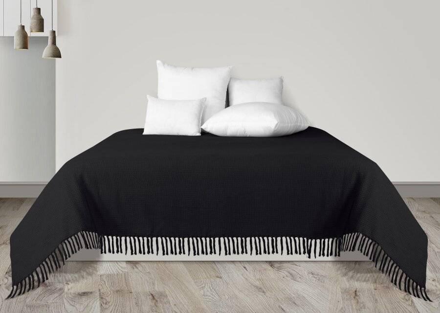 Handwoven Waffle Design Pure Cotton Large Sofa Throw - Black