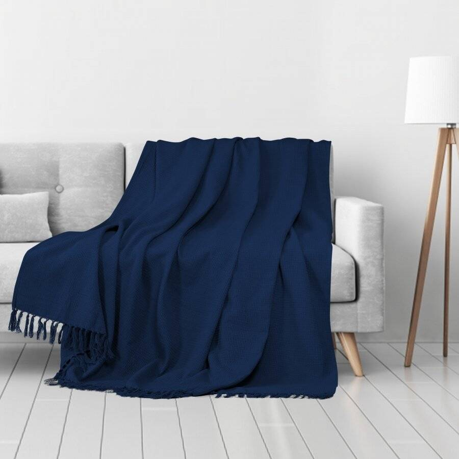 Handwoven Waffle Design Pure Cotton Large Sofa Throw - Navy Blue