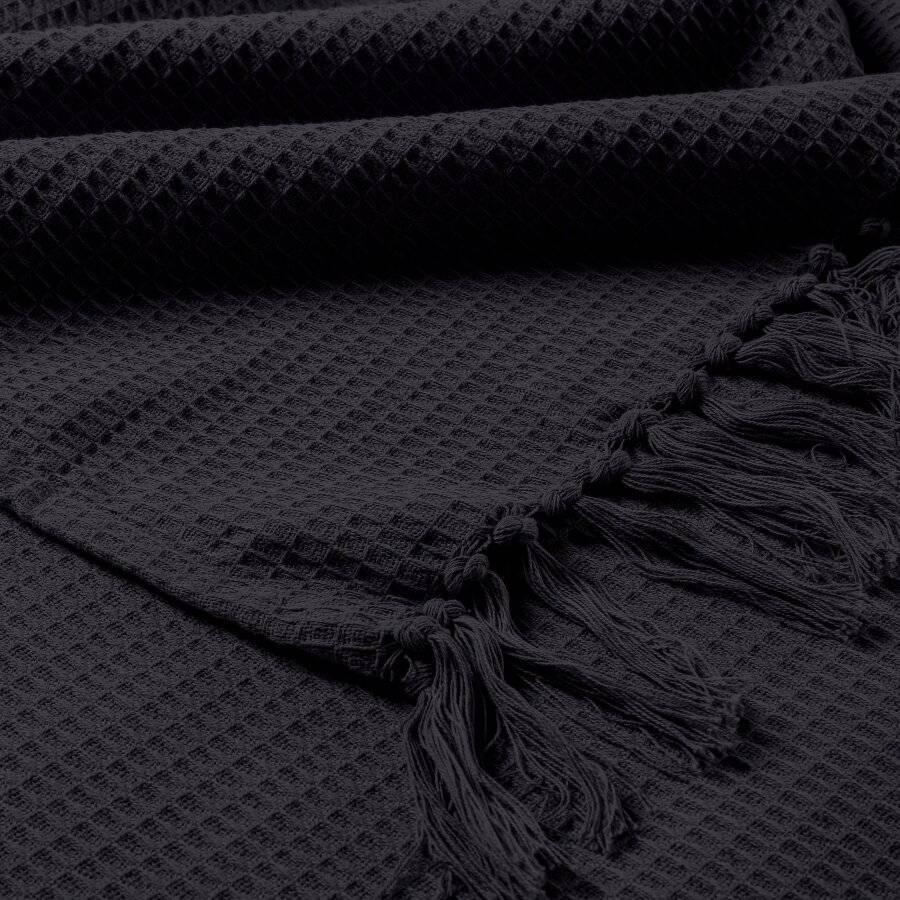 Hand Woven Waffle Design Pure Cotton Single Sofa Throw- Black
