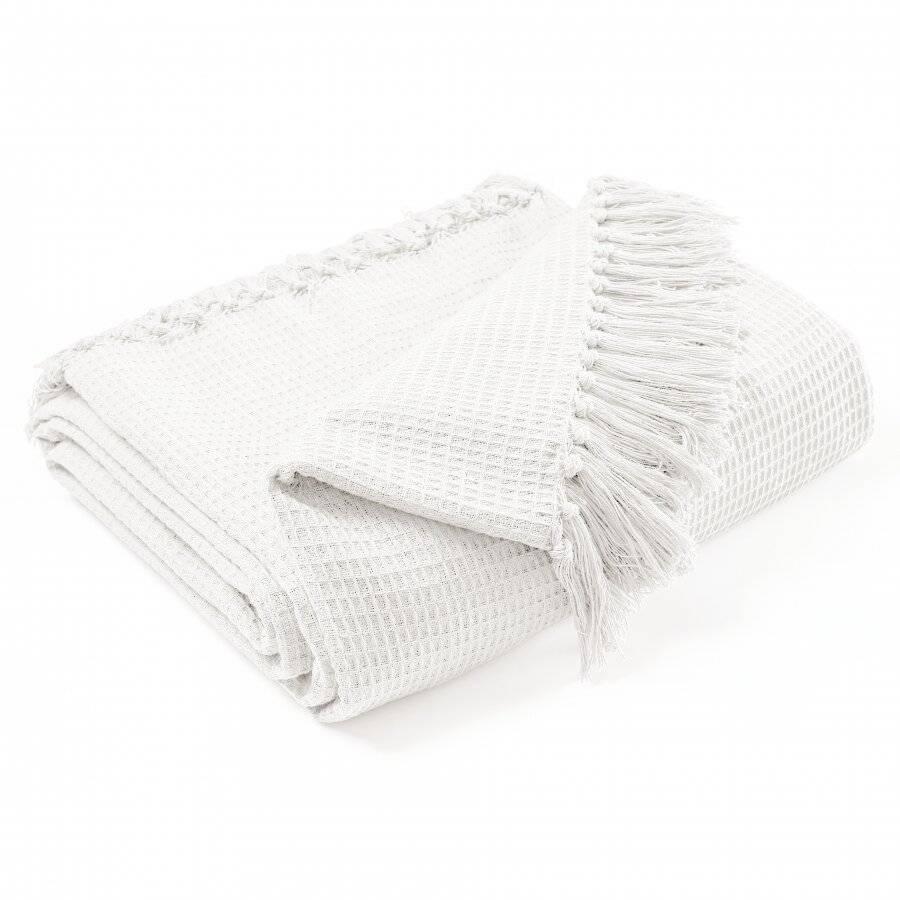 Hand Woven Waffle Design Pure Cotton Single Sofa Throw- Ivory