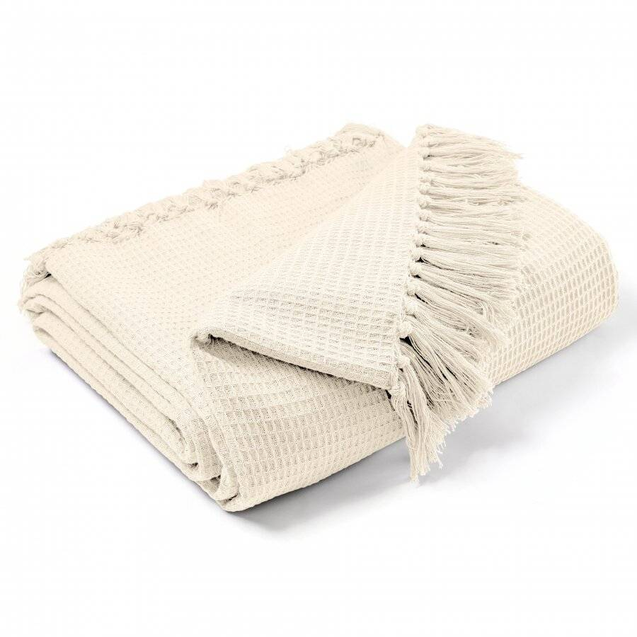 Hand Woven Waffle Design Pure Cotton  Single Sofa Throw- Natural