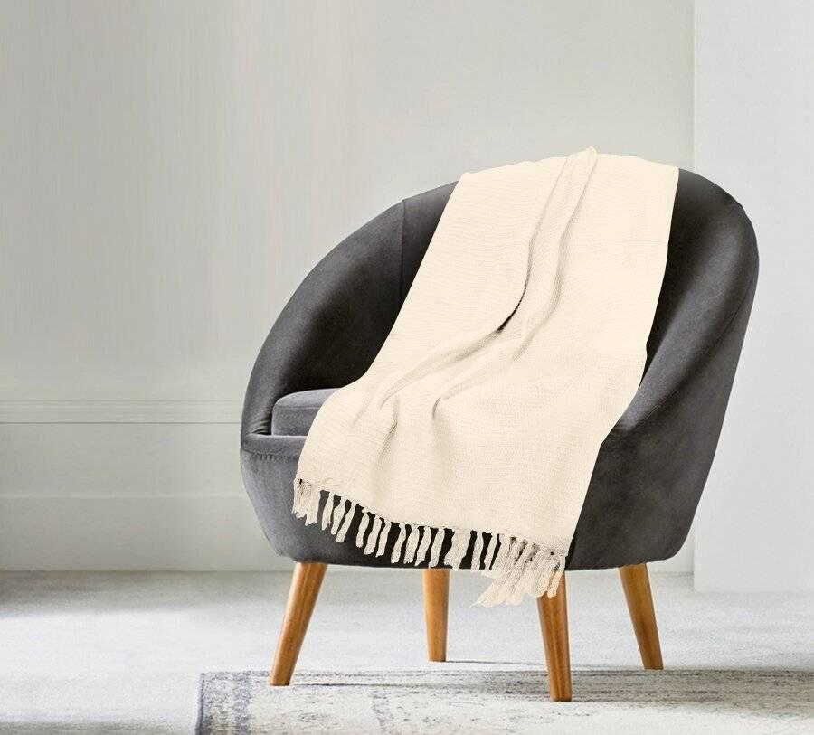 Handwoven Waffle Design Pure Cotton  Single Sofa Throw - Natural