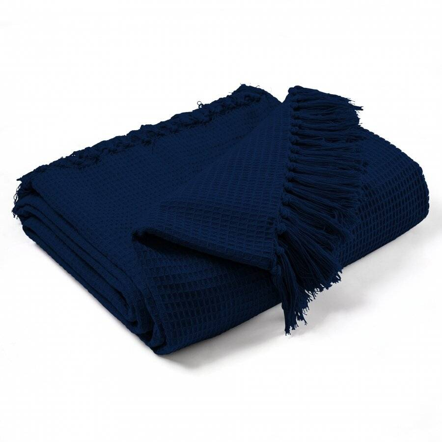 Handwoven Waffle Design Pure Cotton  Single Sofa Throw - Navy Blue