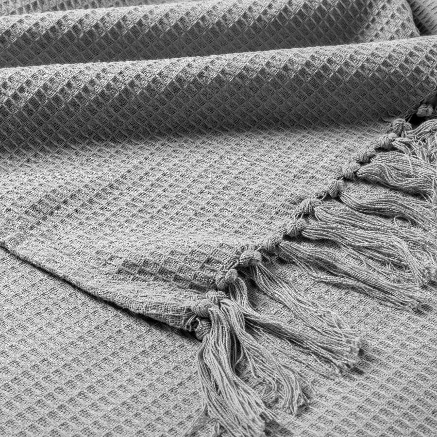 Handwoven Waffle Design Pure Cotton  Single Sofa Throw - Smoke