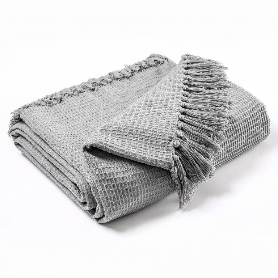 Hand Woven Waffle Design Pure Cotton  Single Sofa Throw- Smoke