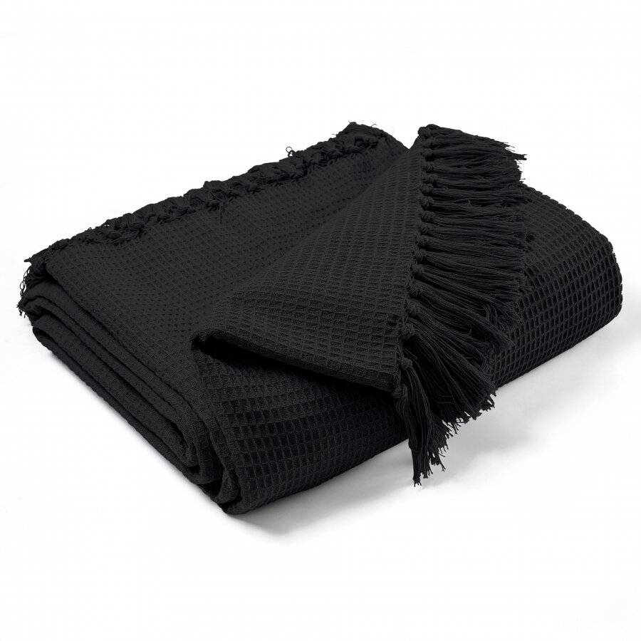Waffle Design Handwoven Cotton Super King Throw For Bed & Sofa - Black