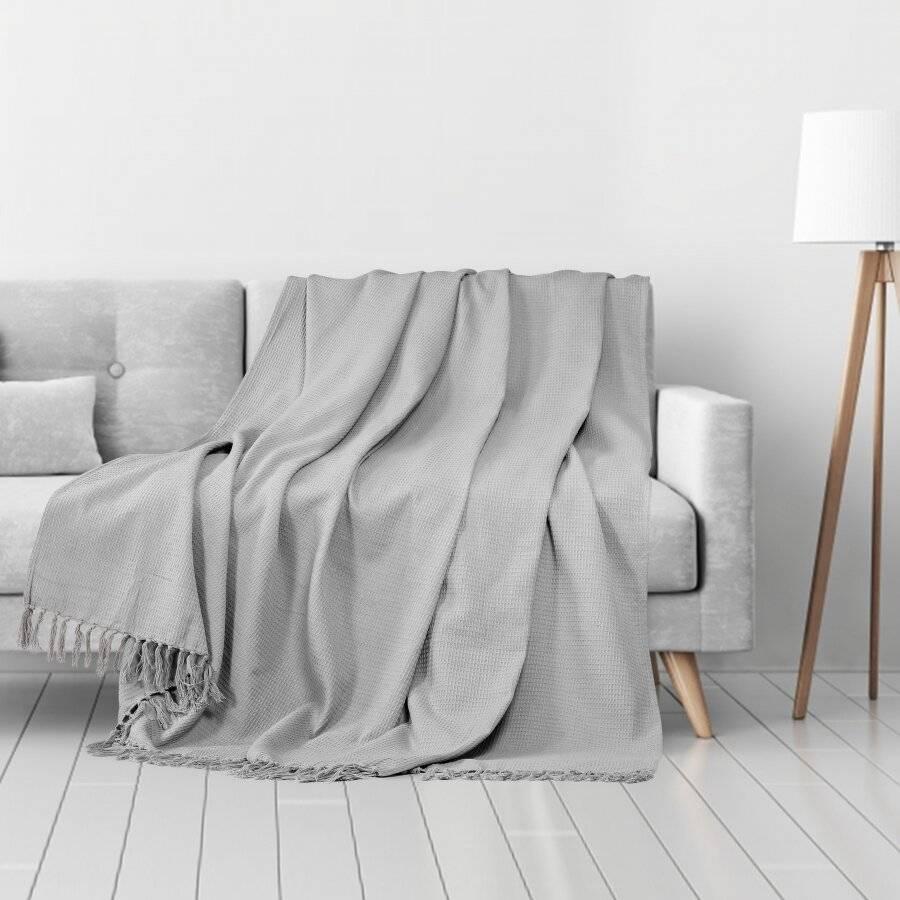Waffle Design Handwoven Cotton King Size Bed or Sofa Throw - Smoke