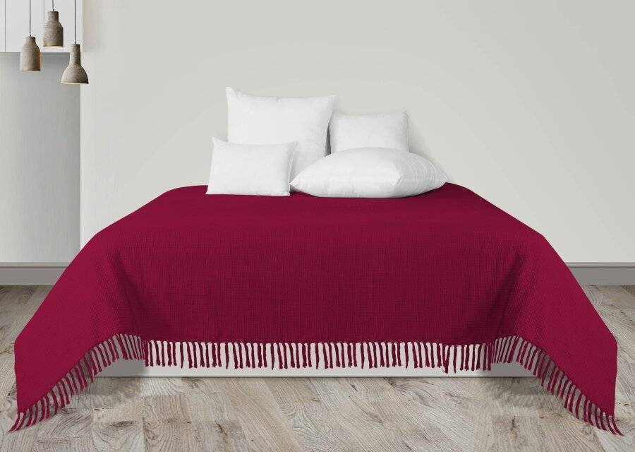 Hand Woven Wine Waffle Design Super King Size Bed or 4 seater Sofa Throw
