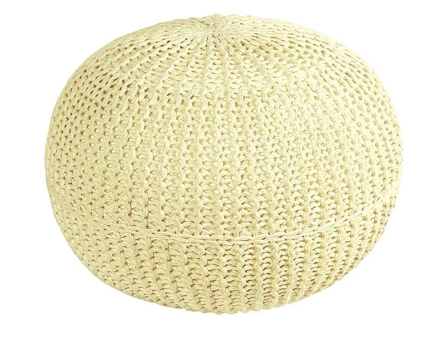 Hand Knitted Double Braided  Cotton Round Pouffe - Cream