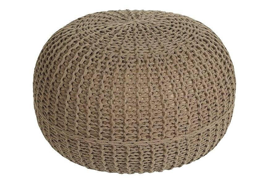 HandKnitted Double Braided  Cotton Round Pouffe- Latte