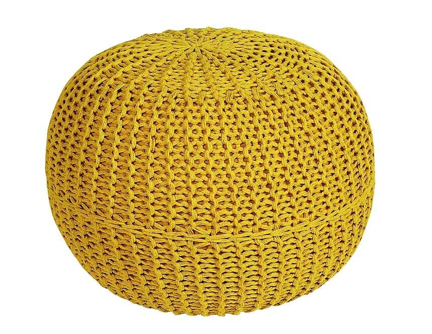 Hand Knitted Double Braided  Cotton Round Pouffe - Ochre
