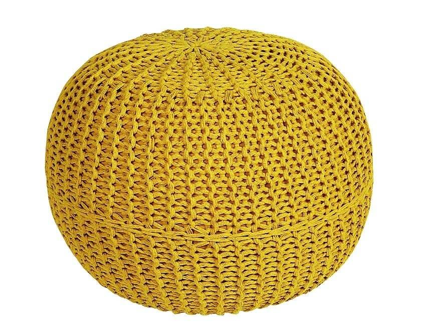 HandKnitted Double Braided  Cotton Round Pouffe- Ochre