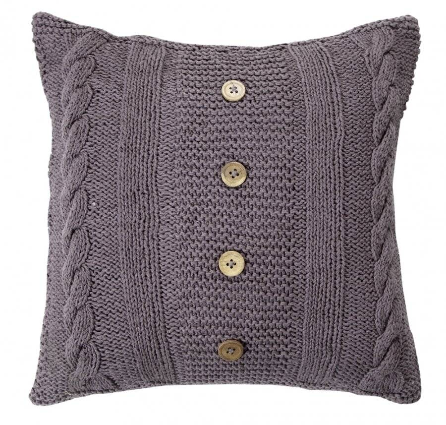 Hand Made Cable Knit Cotton Cushion Cover With Insert - Smoke