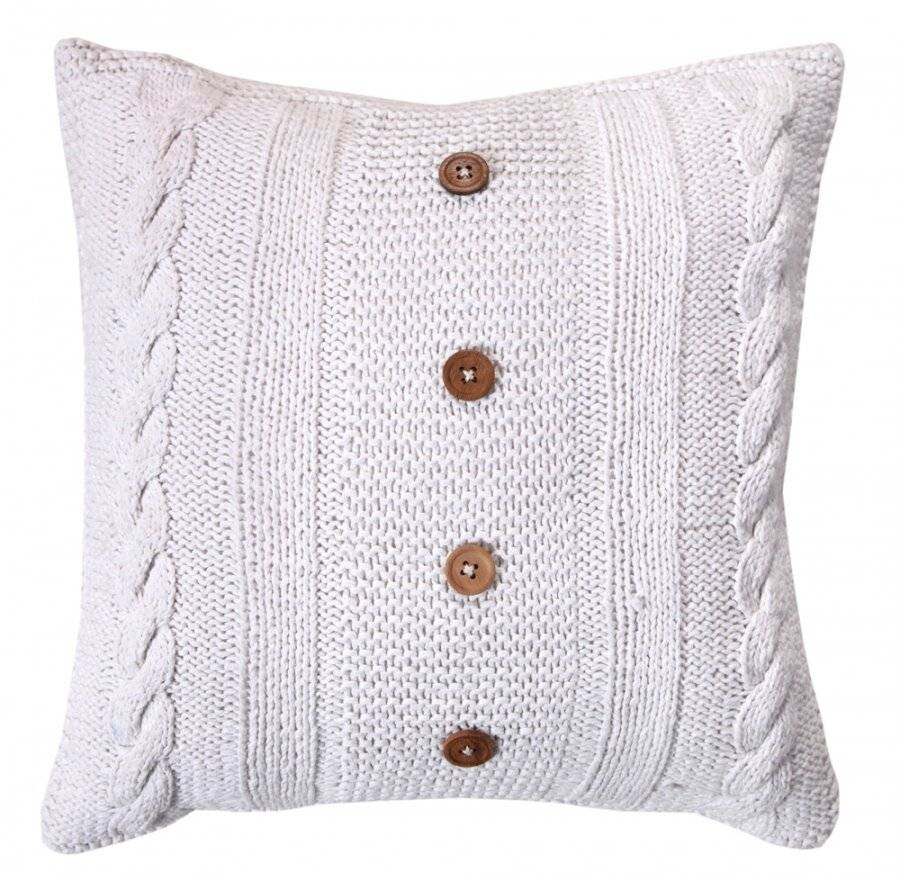 Hand Made Cable Knit Cotton Cushion Cover With Wooden Buttons & Insert