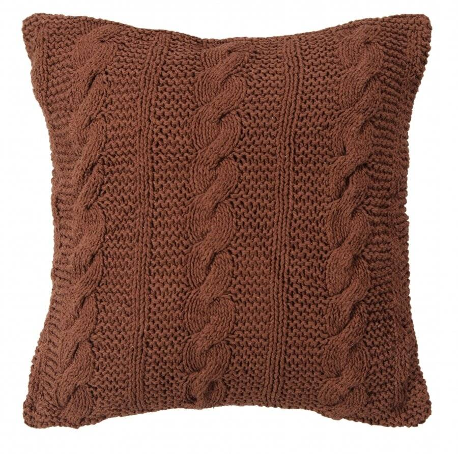Hand Made Cable Knit Cotton Cushion Cover - 40 x 40 cm, Chocolate
