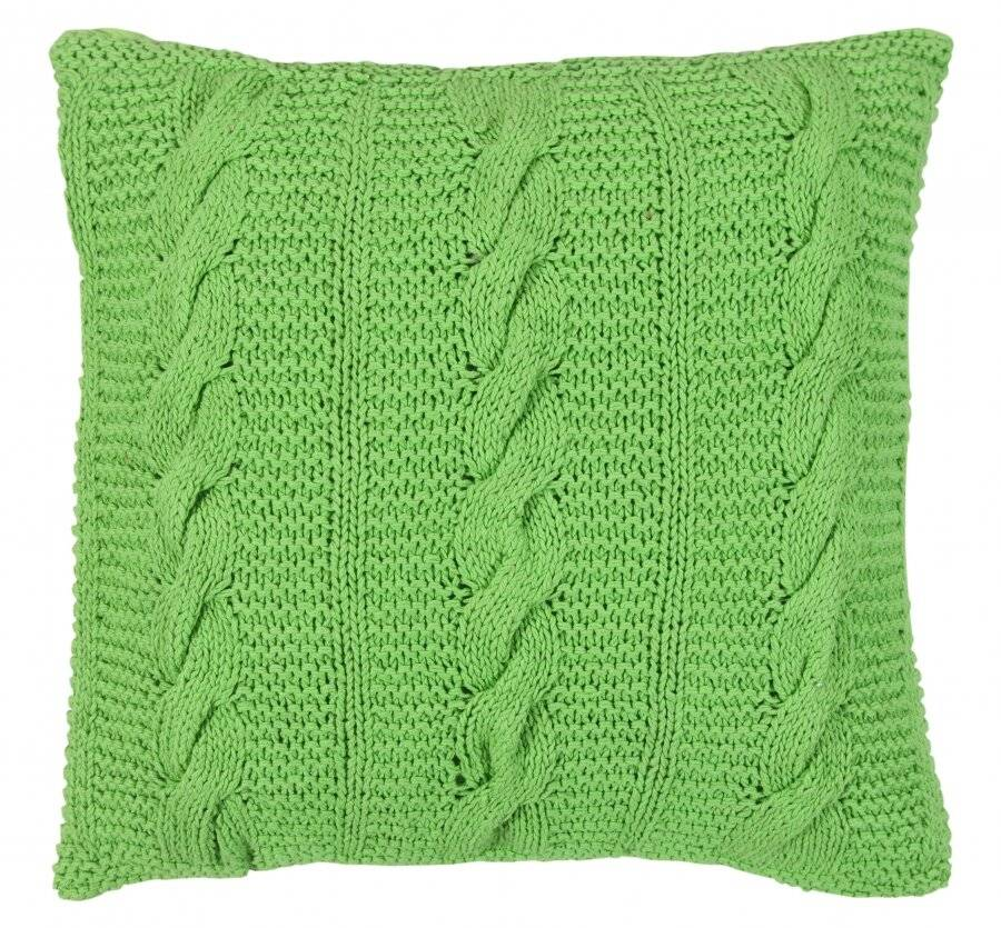 Hand Made Chunky Cable Knit Cotton Cushion Cover - 40 x 40 cm, Green