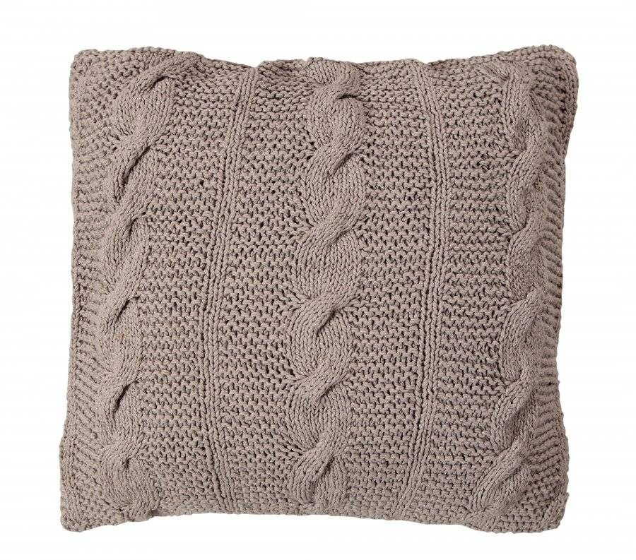 Hand Made Chunky Cable Knit Cotton Cushion Cover - 40 x 40 cm, Grey