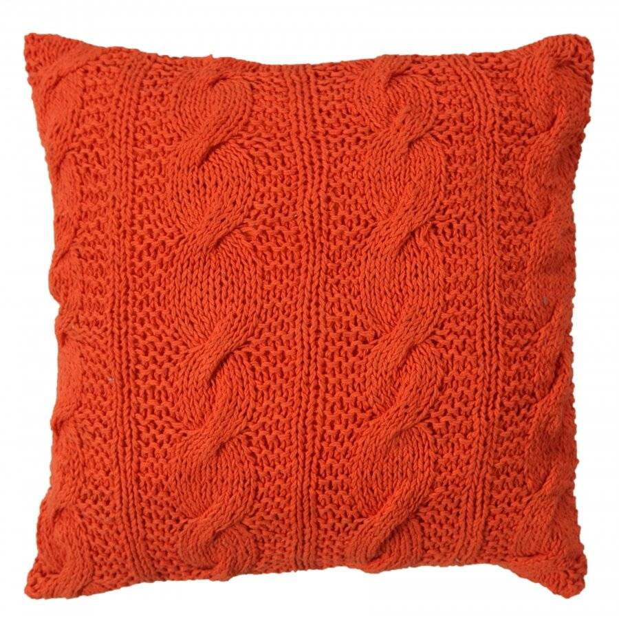 Hand Made Chunky Cable Knit Cotton Cushion Cover - 40 x 40 cm, Orange