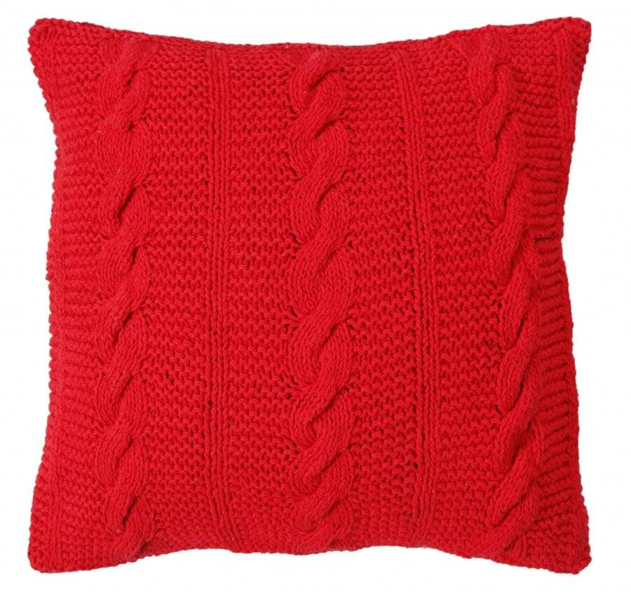 Hand Made Chunky Cable Knit Cotton Cushion Cover - 40 x 40 cm, Red