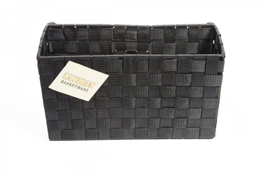 Handwoven 2 Compartments office Desk File Organizer, Black