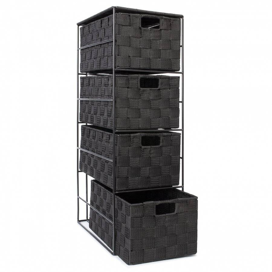 Handwoven Polypropylene  4 Drawer Storage Cabinet - Black
