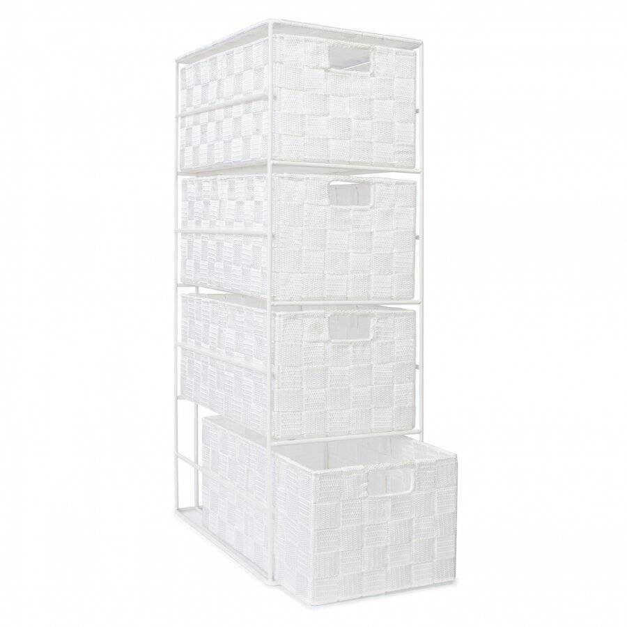Handwoven Polypropylene  4 Drawer Storage Cabinet - White