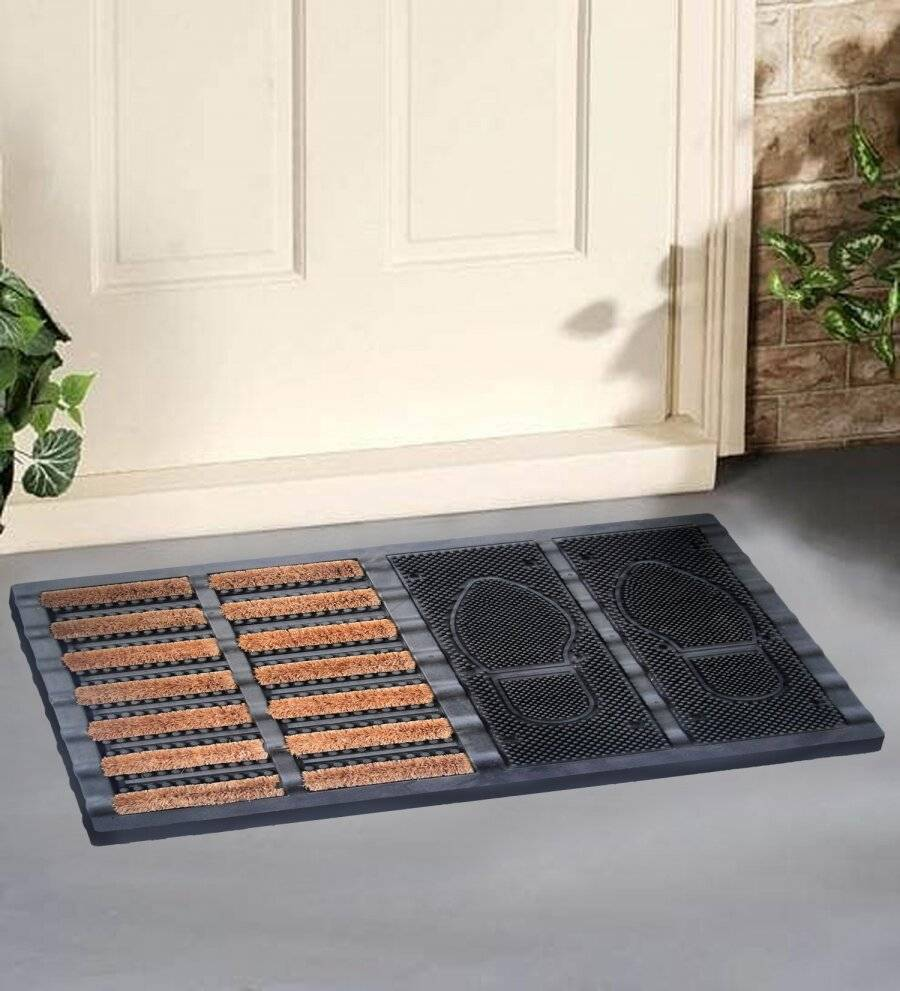 Heavy Duty Half Coir Brush, Half Rubber Boot Tray Doormat