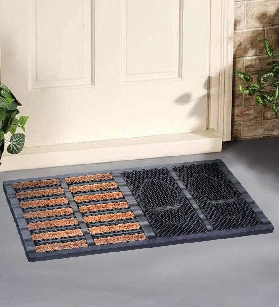 EHC Heavy Duty Half Coir Brush, Half Rubber Boot Tray Doormat