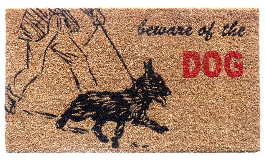 "Heavy Duty Indoor PVC Coir Entrance Door Mat ""Beware of Dogs"""