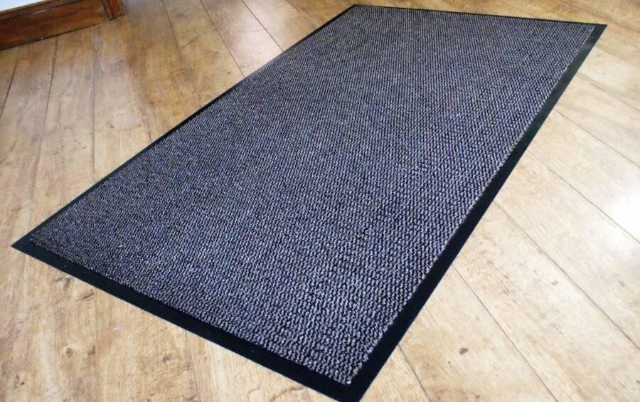 Heavy Duty Non Slip Dirt Barrier Doormat, 90 x 150 cm - Brown/Black