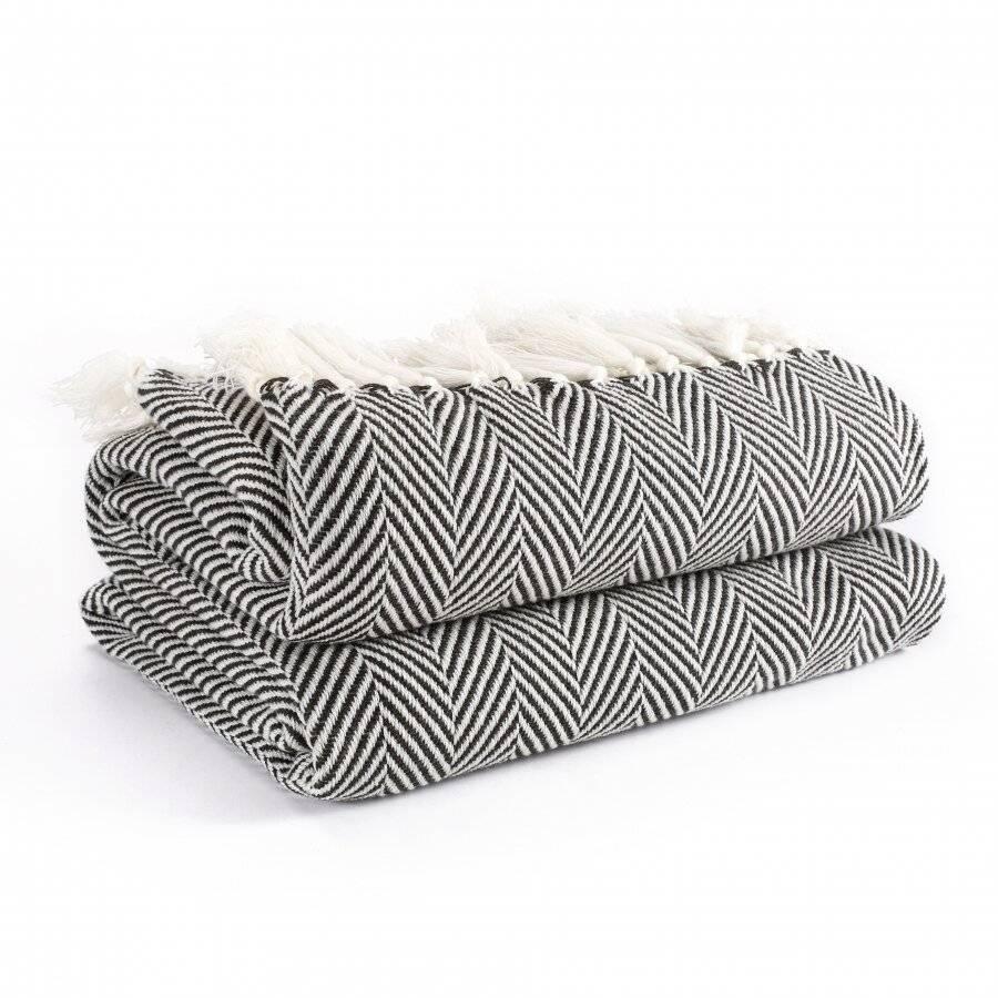 Herringbone Soft & Lightweight Acrylic Sofa Throws - Charcoal Black