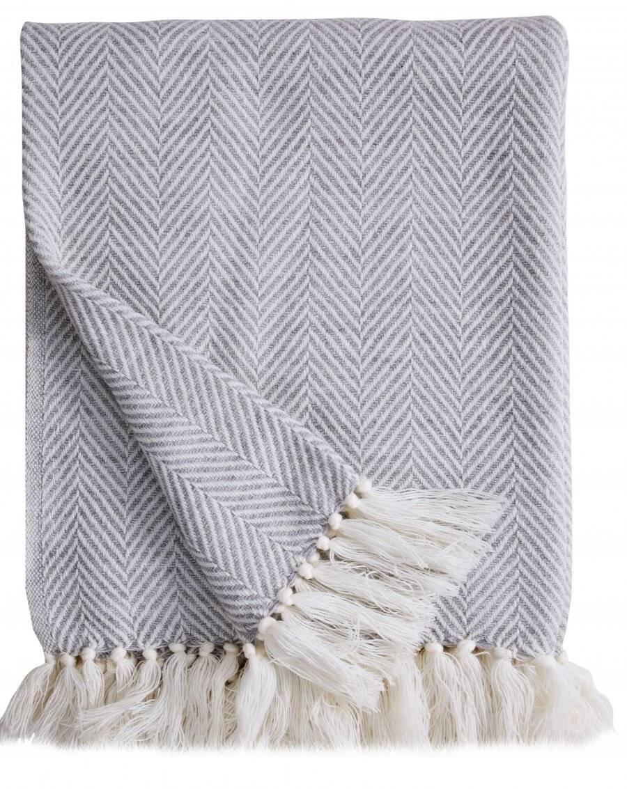 Herringbone Lightweight Soft Warm Wool  Feel Acrylic Throws for Sofa-Grey