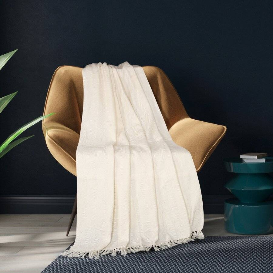 Herringbone Soft & Lightweight Wool Feel Acrylic Sofa Throw - Ivory