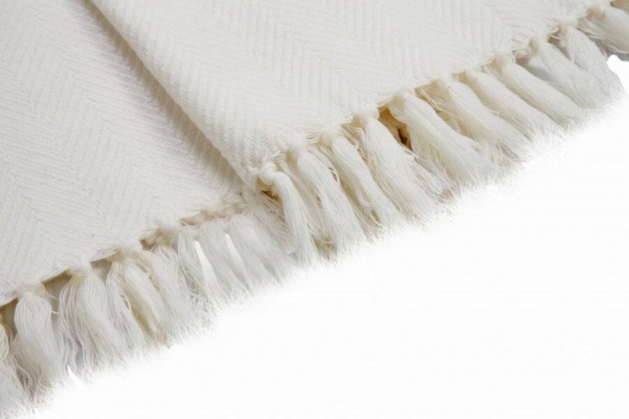 Herringbone Soft & Lightweight Wool Feel Acrylic Sofa Throw - Ivory