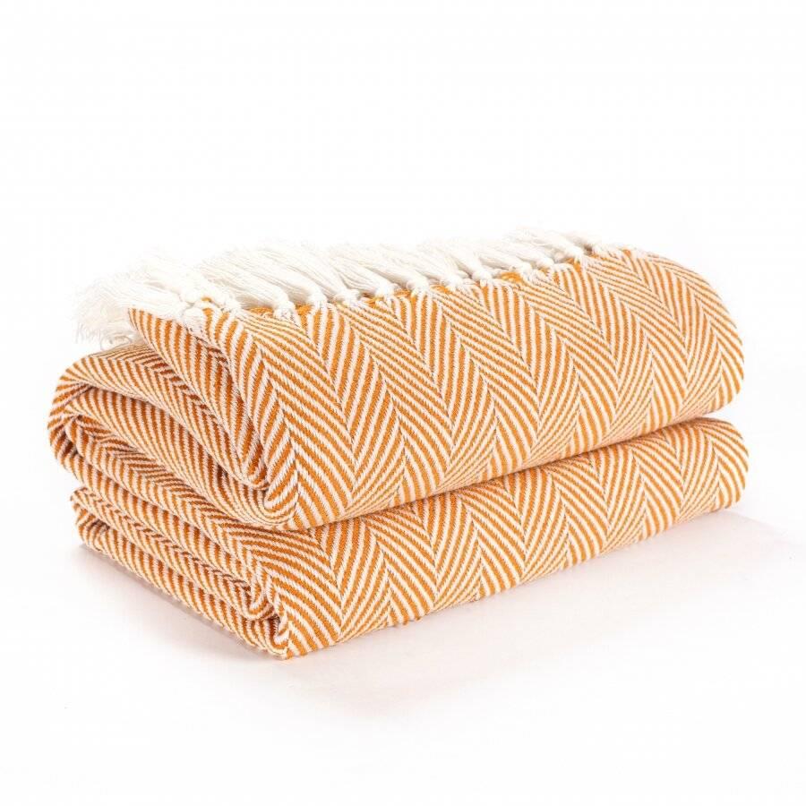 Herringbone Lightweight Soft Warm Wool  Feel Acrylic Throws for Sofa-Ochre